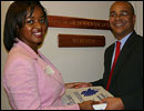 Tanya Clay House, PFAW Public Policy Director, delivers the VRA petitions to Rep. Pelosi's office.